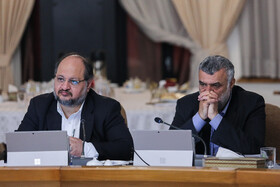 """Iranian Labor Minister Mohammad Shariatmadari (L) is present in Iran's weekly cabinet session, Tehran, Iran, August 14, 2019. Speaking on Wednesday in a cabinet session, President Hassan Rouhani said, """"All propaganda about a new coalition in the Persian Gulf and the Sea of Oman are impractical and superficial. Without a doubt, if a part of this propaganda is put into action, they will not be beneficial for the security of the region""""."""