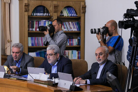 """Head of Iran's Atomic Energy Organization Ali Akbar Salehi (R) is present in Iran's weekly cabinet session, Tehran, Iran, August 14, 2019. Speaking on Wednesday in a cabinet session, President Hassan Rouhani said, """"All propaganda about a new coalition in the Persian Gulf and the Sea of Oman are impractical and superficial. Without a doubt, if a part of this propaganda is put into action, they will not be beneficial for the security of the region""""."""