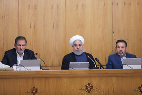 """Iranian President Hassan Rouhani (M) and Iranian First Vice-President Es'haq Jahangiri (L) are present in Iran's weekly cabinet session, Tehran, Iran, August 14, 2019. Speaking on Wednesday in a cabinet session, President Hassan Rouhani said, """"All propaganda about a new coalition in the Persian Gulf and the Sea of Oman are impractical and superficial. Without a doubt, if a part of this propaganda is put into action, they will not be beneficial for the security of the region""""."""