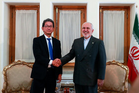 Meeting between Iranian Foreign Minister Mohammad Javad Zarif (R) and Japan's Senior Deputy Minister for Foreign Affairs Takeo Mori, Tehran, Iran, August 17, 2019.