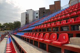 Vatani Football Stadium is prepared for the new edition of the Persian Gulf Pro League, Mazandaran, Iran, August 17, 2019.