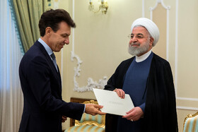 New Italian ambassador in Tehran (L) presents his credentials to Iranian President Hassan Rouhani, Tehran, Iran, August 18, 2019.
