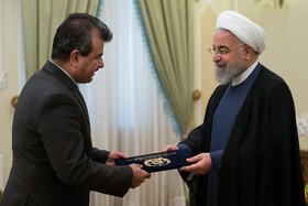 New Afghan ambassador in Tehran (L) presents his credentials to Iranian President Hassan Rouhani, Tehran, Iran, August 18, 2019.