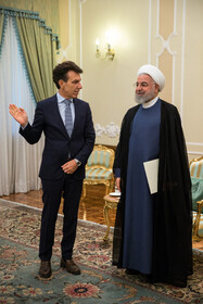New Italian ambassador in Tehran (L) is seen on the sidelines of his meeting with Iranian President Hassan Rouhani, Tehran, Iran, August 18, 2019.