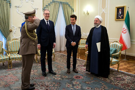 On the sidelines of the meeting between new Italian ambassador in Tehran (2nd, R) and Iranian President Hassan Rouhani (R), Tehran, Iran, August 18, 2019.