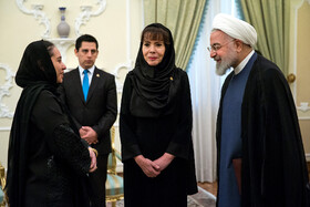 On the sidelines of the meeting between new Bolivian ambassador in Tehran (2nd, R) and Iranian President Hassan Rouhani (R), Tehran, Iran, August 18, 2019.
