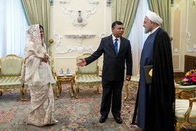 On the sidelines of the meeting between new Bangladeshi ambassador in Tehran (M) and Iranian President Hassan Rouhani, Tehran, Iran, August 18, 2019.