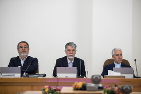 Iran's Interor Minister Abdolreza Rahmani Fazli (L), Iranian Minister of Culture and Islamic Guidance Abbas Salehi (M) and Iran's Minister of Energy Reza Ardakanian  are present in Iran's weekly cabinet session, Tehran, Iran, August 21, 2019.