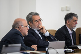 Iran's Interior Minister Abdolreza Rahmani Fazli (M), Iran's Oil Minister Bijan Zanganeh (L) and Iranian Minister of Culture and Islamic Guidance Abbas Salehi are present in Iran's weekly cabinet session, Tehran, Iran, August 21, 2019.