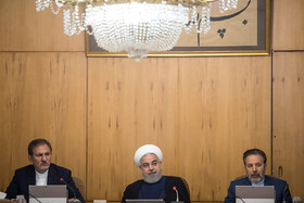 Iranian President Hassan Rouhani (M), Iranian First-Vice President Es'haq Jahangiri (L) and Iranian President's Chief of Staff Mahmoud Vaezi are present in Iran's weekly cabinet session, Tehran, Iran, August 21, 2019.