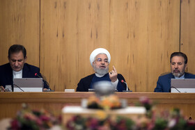 Iranian President Hassan Rouhani delivers a speech in Iran's weekly cabinet session, Tehran, Iran, August 21, 2019.