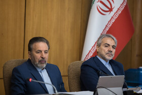 Iranian President's Chief of Staff Mahmoud Vaezi (L) and head of Iran's Plan and Budget Organization Mohammad Baqer Nobakht are present in Iran's weekly cabinet session, Tehran, Iran, August 21, 2019.