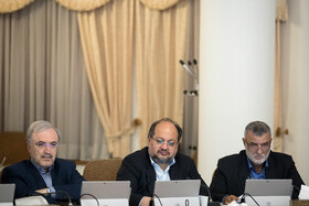 Iranian Health Minister Saeeid Namaki (L) and Iranian Labor Minister Mohammad Shariatmadari (M) are present in Iran's weekly cabinet session, Tehran, Iran, August 21, 2019.