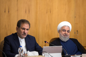 Iranian President Hassan Rouhani (R) and Iranian First-Vice President Es'haq Jahangiri are present in Iran's weekly cabinet session, Tehran, Iran, August 21, 2019.