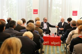Zarif gives speech at SIPRI