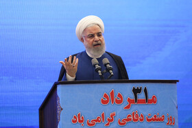 Iranian President Hassan Rouhani delivers a speech during the unveiling ceremony of Bavar-373 air defense system, Tehran, Iran, August 22, 2019.