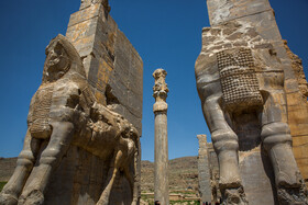 The Gate of All Nations also known as the Gate of Xerxes at Persepolis is seen in the photo, Shiraz, Iran, August 24, 2019. The structure consisted of one large room whose roof was supported by four stone columns with bell-shaped bases. A pair of massive bulls secured the western entrance; two Lamassu in the Assyrian style, albeit, of colossal proportions, stood at the eastern doorway.