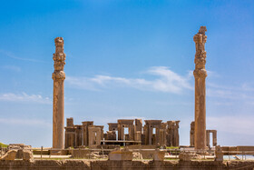 Tachara, the exclusive building of Darius I at Persepolis is seen in the photo, Shiraz, Iran, August 24, 2019. Its main room is a mere 15.15 m × 15.42 m (49.7 ft × 50.6 ft) with three rows of four columns.