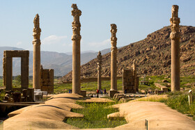 Magnificent ruins of Persepolis are seen in the photo, Shiraz, Iran, August 24, 2019. It is an archeological site which features majestic approaches, monumental stairways, throne rooms, reception rooms and dependencies built by Darius I (522-486 BCE), his son Xerxes I (486-465 BCE), and his grandson Artaxerxes I (465-424 BCE).