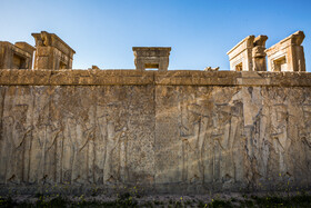 Tachara, the exclusive building of Darius I at Persepolis is seen in the photo, Shiraz, Iran, August 24, 2019. The inscriptions that have been carved on the wall of the Tachara are being destroyed gradually.