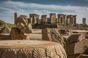 An act of vandalism is seen in the magnificent ruins of Persepolis, Shiraz, Iran, August 24, 2019.