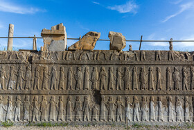 An act of vandalism is seen on the magnificent ruins of Persepolis, Shiraz, Iran, August 24, 2019. Founded by Darius I in 518 B.C., Persepolis was the capital of the Achaemenid Empire.