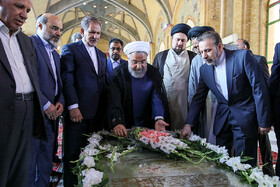 Iranian President Hassan Rouhani and his cabinet Ministers renew allegiance to Imam Khomeini's lofty ideals concurrent with the National Government Week, Imam Khomeini's Mausoleum, Tehran, Iran, August 24, 2019.