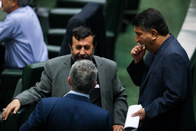 Iranian MP Mohammad Azizi (R), the representative of Abhar City, is seen during the public session of Iran's Parliament, Tehran, Iran, August 25, 2019.