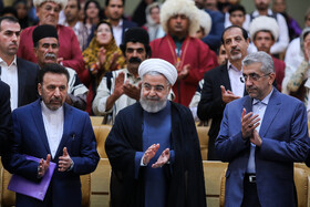 Iranian President Hassan Rouhani (M) is present during the ceremony for government's achievements in developing rural infrastructure, Tehran, Iran, August 26, 2019.