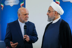 Iranian President Hassan Rouhani (R) is present during the ceremony for government's achievements in developing rural infrastructure, Tehran, Iran, August 26, 2019.