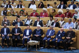 Iranian President Hassan Rouhani is present during the ceremony for government's achievements in developing rural infrastructure, Tehran, Iran, August 26, 2019.