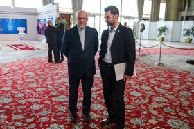 Iranian Oil Minister Bijan Zanganeh (L) is seen on the sidelines of the ceremony for government's achievements in developing rural infrastructure, Tehran, Iran, August 26, 2019.