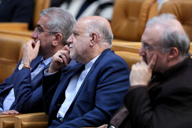 Iranian Energy Minister Reza Ardakanian (L), Iranian Oil Minister Bijan Zanganeh (M) and Iran's Health Minister Saeed Namaki are present during the ceremony for government's achievements in developing rural infrastructure, Tehran, Iran, August 26, 2019.