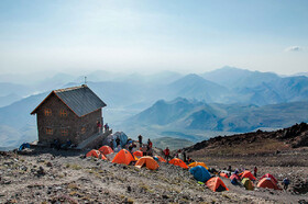 Simorgh Shelter of Mount Damavand is seen in the photo, Mount Damavand, Iran, August 26, 2019.
