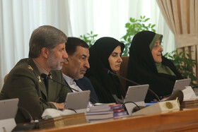 """Iran's Defense Minister Brigadier General Amir Hatami (L) is present during the weekly session of Iran's cabinet ministers. During the session Mr Rouhani said, """"The fact that our country's exports have increased and we have developed in science and technology and we have good interaction with the world and our young people are studying in foreign universities all mean that we have cooperation and interaction with the world""""."""