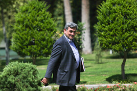 """Tehran Mayor Pirouz Hanachi is seen on sidelines of the weekly session of Iran's cabinet ministers. During the session Mr Rouhani said, """"The fact that our country's exports have increased and we have developed in science and technology and we have good interaction with the world and our young people are studying in foreign universities all mean that we have cooperation and interaction with the world""""."""