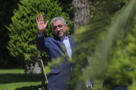 """Iranian Energy Minister Reza Ardakanian is seen on the sidelines of the weekly session of Iran's cabinet ministers, Tehran, Iran, August 28, 2019. During the session Mr Rouhani said, """"The fact that our country's exports have increased and we have developed in science and technology and we have good interaction with the world and our young people are studying in foreign universities all mean that we have cooperation and interaction with the world""""."""