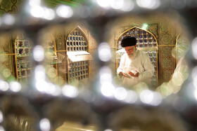 Iran's Supreme Leader attends a ritual ceremony for clearing dust from the noble tomb of Imam Reza (PBUH) ahead of Muharram Month, Mashhad, Iran, August 31, 2019.
