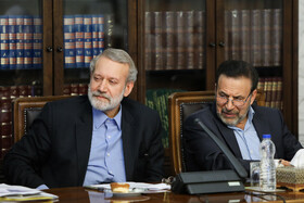 Iranian Parliament Speaker Ali Larijani (L) and Iranian President's Chief of Staff Mahmoud Vaezi are present in the meeting of the Supreme Council of Cyberspace, Tehran, Iran, August 31, 2019.