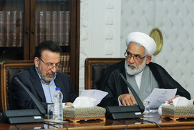 Iranian President's Chief of Staff Mahmoud Vaezi (L) is present in the meeting of the Supreme Council of Cyberspace, Tehran, Iran, August 31, 2019.