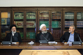 Iranian President Hassan Rouhani (M), Iranian Parliament Speaker Ali Larijani (R) and Iran's Judiciary Chief Ebrahim Raeisi are present in the meeting of the Supreme Council of Cyberspace, Tehran, Iran, August 31, 2019.