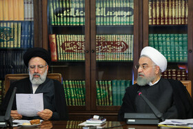 Iranian President Hassan Rouhani (R) and Iran's Judiciary Chief Ebrahim Raeisi are present in the meeting of the Supreme Council of Cyberspace, Tehran, Iran, August 31, 2019.