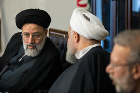 Iranian President Hassan Rouhani (M) and Iran's Judiciary Chief Ebrahim Raeisi (L) are present in the meeting of the Supreme Council of Cyberspace, Tehran, Iran, August 31, 2019.