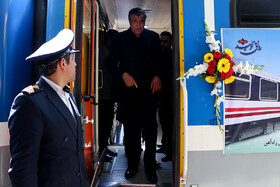 Minister of Roads and Urban Development Mohammad Eslami is present in a ceremony in which 213 new train cars were added to Iran's railroad network, Tehran, Iran, September 3, 2019.