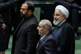 Iranian President Hassan Rouhani (R) is present in the Parliamentary session, Tehran, Iran, September 3, 2019.