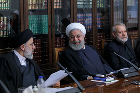 Iranian President Hassan Rouhani (M), Iranian Parliament Speaker Ali Larijani (R) and Iran's Judiciary Chief Ebrahim Raeisi are present in the meeting of Iran's Supreme Council of Cultural Revolution, Tehran, Iran, September 3, 2019.