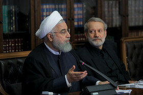 Iranian President Hassan Rouhani (L) and Iranian Parliament Speaker Ali Larijani are present in the meeting of Iran's Supreme Council of Cultural Revolution, Tehran, Iran, September 3, 2019.