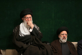 Iran's Supreme Leader Ayatollah Ali Khamenei (L) attends the mourning ceremony for Imam Hussain (PBUH), Tehran, Iran, September 6, 2019.