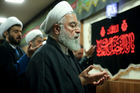 Iranian President Hassan Rouhani leads noon and afternoon prayers in the mourning ceremony for Imam Hussain (PBUH), Tehran, Iran, September 7, 2019.