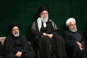 Iran's Supreme Leader Ayatollah Ali Khamenei (M), Iranian President Hassan Rouhani (R) and Iran's Judiciary Chief Ebrahim Raeisi are present on the second night of mourning ceremony for Imam Hussain (PBUH), Tehran, Iran, September 7, 2019.